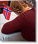 Flag Of Norway In Girls' Braided Hair Art Prints Metal Print