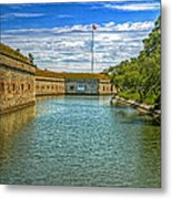 Flag Over The Moat Metal Print