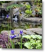 Flags And A Pond Metal Print