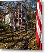 Flags And Covered Bridge Metal Print