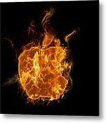 Flame Apple Metal Print