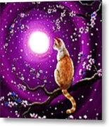 Flame Point Siamese Cat In Dancing Cherry Blossoms Metal Print