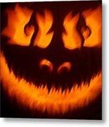 Flame Pumpkin Metal Print