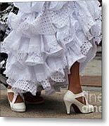 Flamenco Dancer In White Metal Print