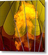 Flames Heating Up Hot Air Balloon Metal Print by Garry Gay