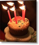 Flaming Birthday Cupcake Closeup Metal Print by Robert D  Brozek