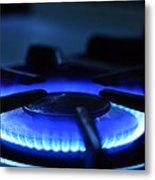 Flaming Blue Gas Stove Burner Metal Print
