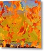 Flaming Indian Girl Sunset Metal Print