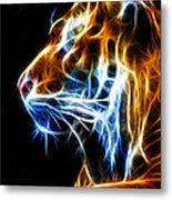 Flaming Tiger Metal Print