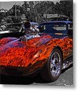Flaming Vette Metal Print