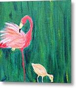 Flamingo And Chick Metal Print