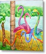 Flamingo Dingos Metal Print