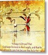 Flamingo In Yellow Metal Print