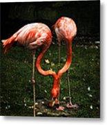 Flamingo Mirrored Metal Print