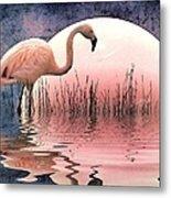Flamingo Moon Metal Print