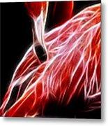 Flamingo Portrait Fractal Metal Print