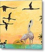 Flamingo Sunset Silhouette Cathy Peek Tropical Birds  Metal Print