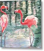 Flamingo Time Metal Print