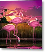 Flamingoes Flamingos Tropical Sunset Landscape Florida Everglades Large Hot Pink Purple Print Metal Print