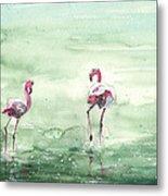Flamingos In Camargue 02 Metal Print