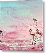 Flamingos In Camargue 03 Metal Print