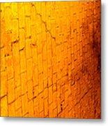 Flamming Brick Wall Metal Print