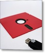 Flash Drive And Floppy Disk Metal Print