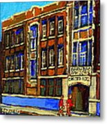 Flashback To Sixties Montreal Memories Baron Byng High School Vintage Landmark St. Urbain City Scene Metal Print by Carole Spandau