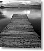 Flathead Lake Dock Sunset - Black And White Metal Print
