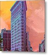Flatiron Building At Sunset Metal Print