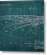 Flesh Fly Wing Blueprint Green Metal Print