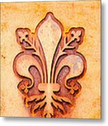 Fleur De Lis On A Rusty Metal Plate Metal Print