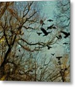 Flight Of The Forest Crows Metal Print