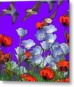 Flight Over Poppies Metal Print