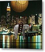 Flight Over The New York Skyline On A Hot Air Balloon Metal Print by Marvin Blaine