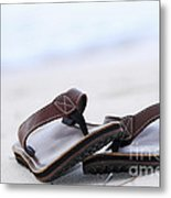 Flip-flops On Beach Metal Print