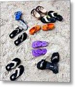 Flip Flops On The Beach Metal Print