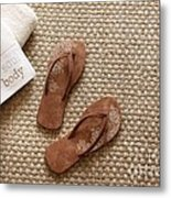Flip Flops With Towels On Seagrass Rug Metal Print