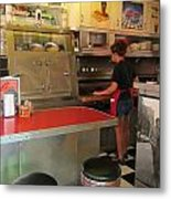 Flippin Burgers In The Diner Metal Print