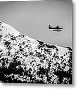 Float Plane Over The Mountain Metal Print