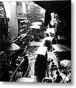 Floating Markets In Black And White Metal Print