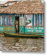 Floating Pub In Shanty Town Metal Print