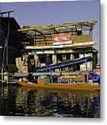 Floating Shop Along With Another Shop On Floats In The Dal Lake Metal Print