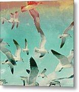 Flock Of Seagulls, Miami Beach Metal Print
