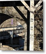 Flood Height Sign At Ellicott City Maryland Metal Print