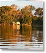 Flooded Amazon With Houses Metal Print