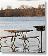 Flooded Park Bench Lunch Metal Print