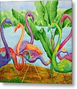 Floosie Flamingos Metal Print
