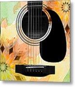 Floral Abstract Guitar 14 Metal Print