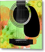 Floral Abstract Guitar 15 Metal Print